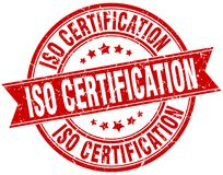 Iso certification stamp. Iso certification round grunge ribbon stamp isolated on white background Stock Photo