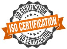 Iso certification seal. stamp. Iso certification round seal isolated on white background. iso certification stock illustration