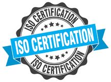 Iso certification seal. stamp. Iso certification round seal isolated on white background. iso certification royalty free illustration