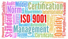 ISO 9001 certification word cloud concept. Illustration stock illustration