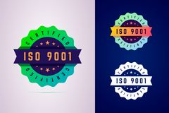 Iso 9001 certified badge. Three color variants label for certifi. Cated product. Vector illustration in modern gradient style stock illustration