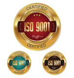 ISO 9001 certified golden badge collection. Collection Royalty Free Stock Photography