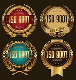 ISO 9001 certified golden badge collection. Collection Stock Photography