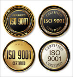 ISO 9001 certified golden badge collection. Collection Royalty Free Stock Photo