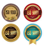 ISO 9001 certified golden badge collection. ISO 9001 certified retro golden badge collection Royalty Free Stock Photos