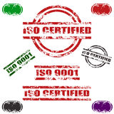 ISO CERTIFIED grunge stamp set. Set of nine ISO CERTIFIED grunge stamp, red,black, green and other stamp colors Three different types ,isolated on white.png file Royalty Free Stock Images
