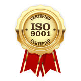 ISO 9001 certified - quality standard seal. ISO 9001 certified - quality standard golden seal Stock Photos