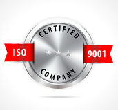 ISO 9001 certified, silver badge with red ribbon - vector eps10 Stock Photos