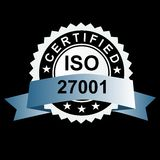 ISO certified silver emblem. ISO 27001 certified silver emblem Stock Image