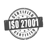 ISO 27001 certified vector stamp Stock Photo