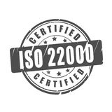 ISO 22000 certified vector stamp Stock Image