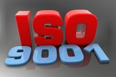 ISO 9001 3d text. Render royalty free stock photos