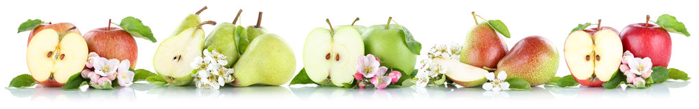 ISO de las frutas de la fruta de las peras de las manzanas de la colección de Apple y de la pera en fila Foto de archivo libre de regalías