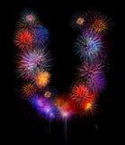 iso för fyrverkeri för U- för färgrik fireworksalphabet härlig färgrik royaltyfri bild
