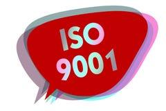 Iso 9001 för ordhandstiltext Affärsidéen för att planlagda hjälporganisationer ska se till möter behoven av kundanförandebubbla I vektor illustrationer
