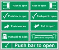 ISO 7010 grafische symbolen voor de Duw van de Diatrekkracht te openen royalty-vrije illustratie