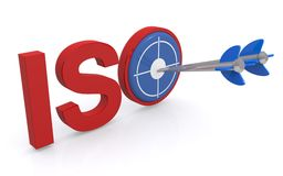 ISO graphics. Red block text graphics spelling ISO with blue target and darts on white Stock Photography