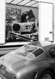 Iso Grifo A3C racing car and Classic Ferrari 250GT Black and White Stock Image