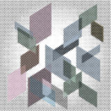 Iso halftone space. Vector 3d abstract composition with squares in dotted halftone raster Royalty Free Stock Images