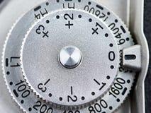 ISO i ujawnienia wynagrodzenia kontrolna tarcza na SLR kamerze zdjęcie royalty free