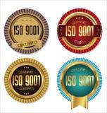 ISO 9001 intygade den guld- emblemsamlingen Royaltyfria Foton