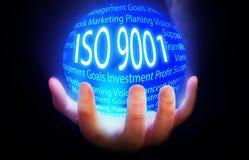 ISO 9001 kuli ziemskiej tła planu błękitny kolor Fotografia Stock