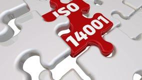 Iso 14001 L'iscrizione sull'elemento mancante del puzzle illustrazione di stock