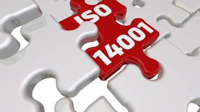 ISO 14001 La inscripción en el elemento que falta del rompecabezas