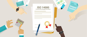 ISO 14000 management environmental standards business compliance to international organization hand audit check document. Vector Stock Images