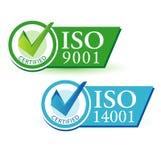 ISO 9001 och ISO 14001 Arkivbild