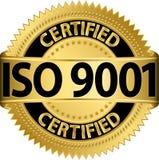 ISO 9001 poświadczał złotą etykietkę, wektor Obrazy Royalty Free