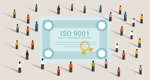 ISO 9001 quality management systems certification standard international compliance together achieve leadership. Vector vector illustration