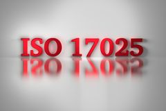 ISO 17025 red letters on white background. Red letters of ISO 17025 quality standard for testing and calibration laboratories. ISO 17025 on white background. 3D royalty free stock photography