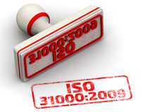 ISO 31000:2009. Seal and imprint. Red seal and imprint `ISO 31000:2009 risk management snandard` on white surface . Isolated. 3D Illustration Royalty Free Illustration