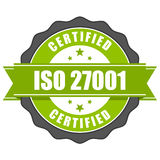 ISO 27001 standard certificate badge - Information security mana Royalty Free Stock Photo