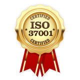 ISO 37001 standard certified rosette - Anti-bribery management. Systems Royalty Free Stock Photos