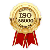 ISO 22000 standard certified rosette - Food safety Royalty Free Stock Images
