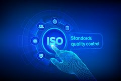 ISO standards quality control assurance warranty business technology concept. ISO standardization certification industry service. Concept. Robotic hand touching stock illustration
