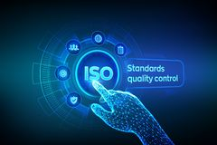 ISO standards quality control assurance warranty business technology concept. ISO standardization certification industry service. Concept. Robotic hand touching vector illustration