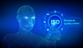 ISO standards quality control assurance warranty business technology concept. ISO standardization certification service concept. Wireframed cyborg hand vector illustration