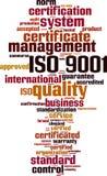 ISO 9001 uttrycker molnet stock illustrationer