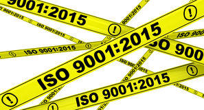 ISO 9001:2015. Yellow warning tapes vector illustration