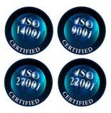 ISO 14001 9001 27001 22001 zugelassenes Logo Lizenzfreies Stockbild