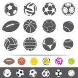 isokated op witte sportieve ballen vectorreeks Stock Afbeelding