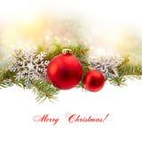Isol διακοσμήσεων Χριστουγέννων (κλάδος έλατου, σφαίρα Χριστουγέννων, snowflake,) Στοκ Εικόνες