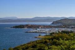 Isola是位于亚得里亚海的海岸的一个小沿海城市斯洛文尼亚 库存图片
