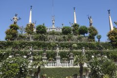 Isola的Bella,斯特雷萨Gardensof Borromeo宫殿 图库摄影