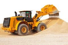 反向铲装载者或推土机-有裁减路线isola的挖掘机 免版税图库摄影