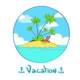 Isola Banaba tropicale Logo Hand di vacanze estive Fotografie Stock