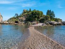 """""""Isola Bellaâ€- Insel von Taormina, Catania, Sizilien Schöne Paradiesinsel in Sizilien lizenzfreie stockfotos"""
